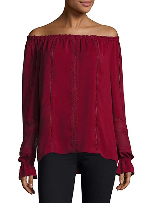 Ramy Brook THEA OFF-THE-SHOULDER SUEDED TECH TOP