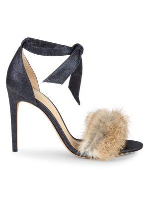 Alexandre Birman Clarita Rabbit Fur Denim d'Orsay Sandals