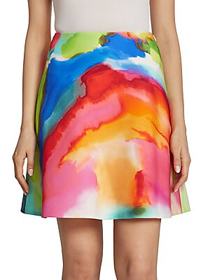 Corinne Splash-Print Skirt
