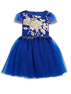 David Charles - Little Girl's Embroidered Tulle Dress