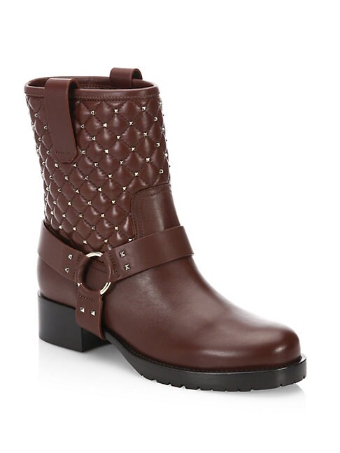 Quilted Leather Biker Boots
