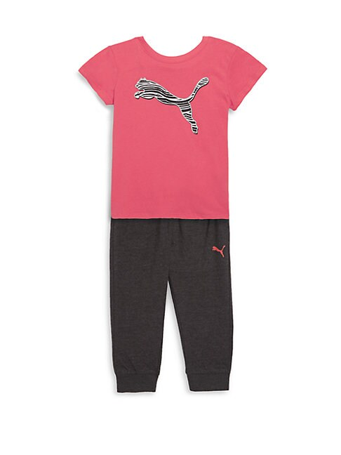GIRL'S TWO-PIECE COTTON TEE & JOGGER PANTS SET