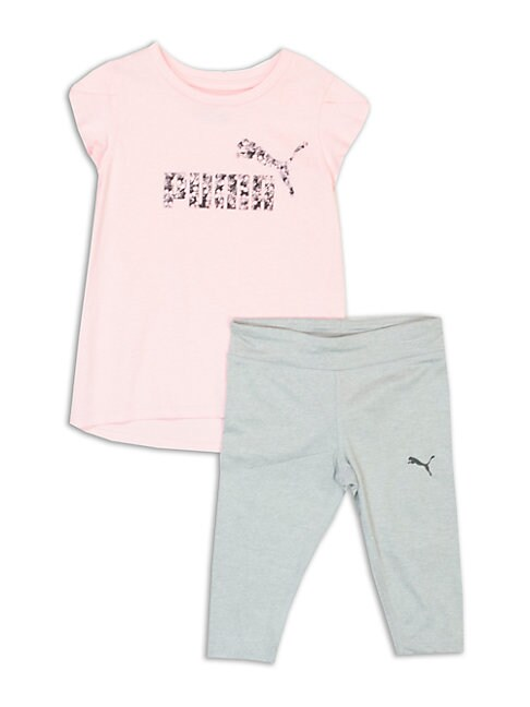 LITTLE GIRL'S TWO-PIECE ABSTRACT LOGO TEE AND LEGGINGS SET