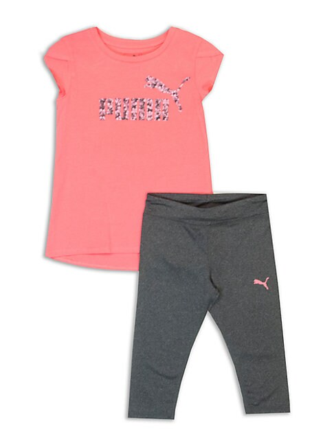 LITTLE GIRLS TWO-PIECE JERSEY TEE AND CAPRI PANTS SET