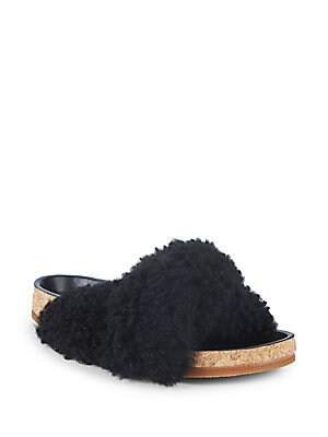 SHEARLING AND LEATHER SLIDES