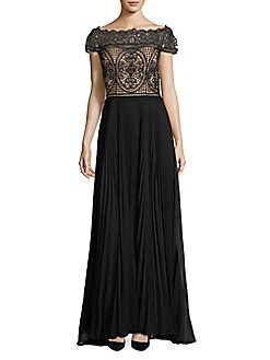 Aidan Mattox - Off-The-Shoulder Embroidered Lace Gown