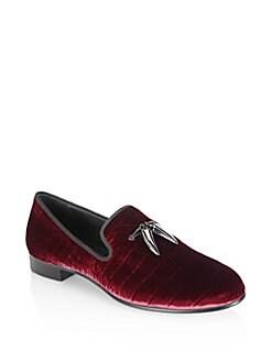 Giuseppe Zanotti - Croc-Embossed Velvet Loafers