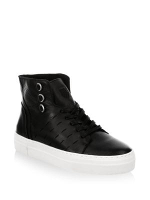 Modern Leather High Top Sneakers in Black Off White