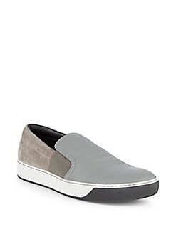 Lanvin - Leather & Suede Slip-On Sneakers