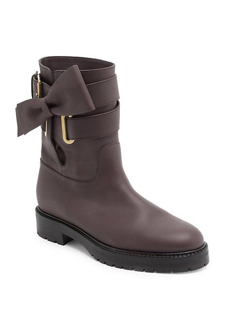 Bowrap Leather Biker Boots