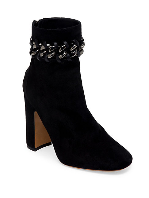 METAL-WEAVE SUEDE BLOCK HEEL BOOTIES