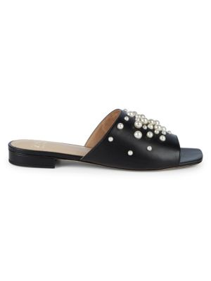 Amber Faux Pearl Leather Slides in Black