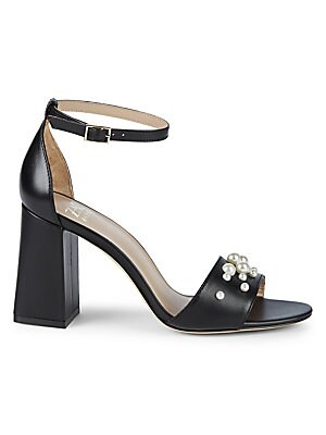 Elle Faux Pearl Leather Ankle Strap Sandals by Zac Zac Posen