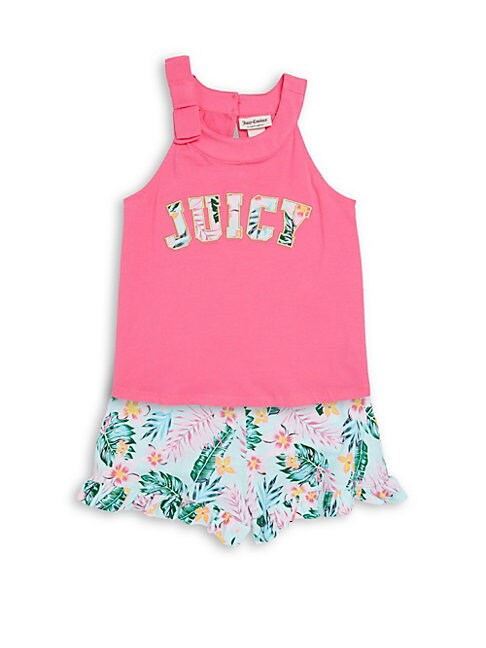 Little Girl's Two-Piece Tropical-Print Top and Shorts Set