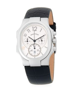 PHILIP STEIN Stainless Steel Chronograph Leather-Strap Watch in Black