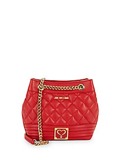 7cc641c69aac Love Moschino. Quilted Heart Front Bucket Bag