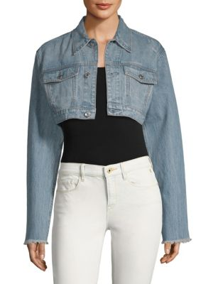 DTLA BRAND JEANS Distressed Crop Denim Jacket in Light Stone