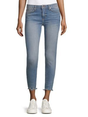 DTLA BRAND JEANS Shredded-Hem High-Rise Jeans in Shredded Hem