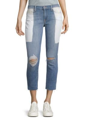 DTLA BRAND JEANS Two-Tone Frayed-Hem Jeans in 2 Toned