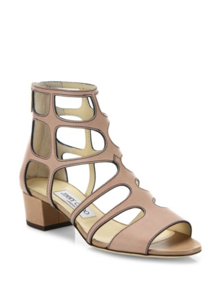 Ren Caged Metallic Leather Block Heel Sandals by Jimmy Choo