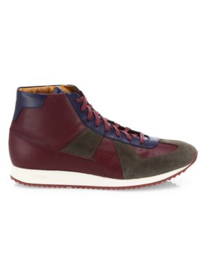 FACTO Leather Lace-Up High-Top Sneakers in Multi