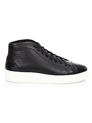 FACTO Mars Leather Mid Top Sneakers in Black