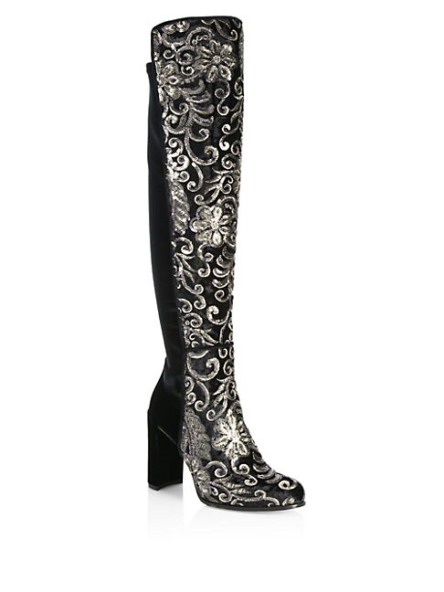 Alljil Tall Sequin-Embroidered Velvet Boots