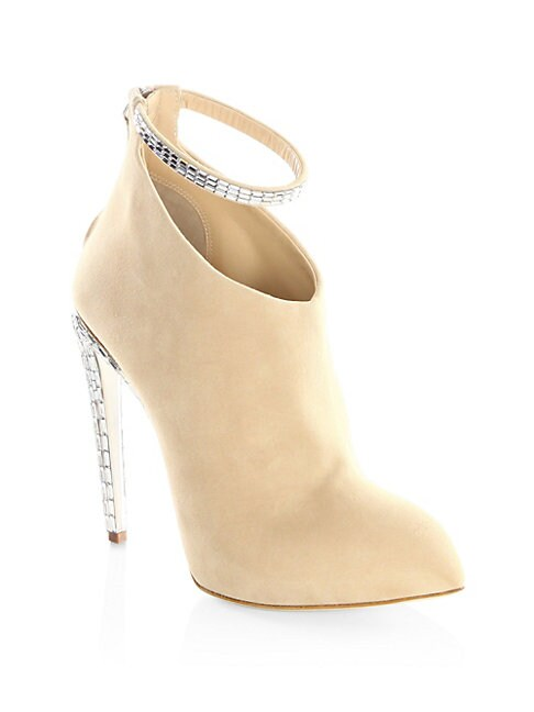 Crystal Ankle Strap Suede Booties