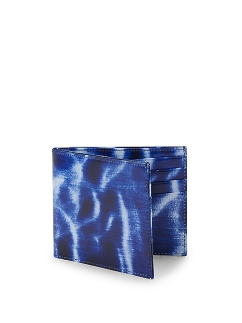 Abstract-Print Leather Wallet