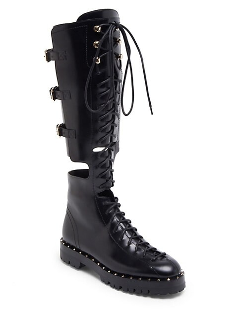 28c345b404e Valentino Soul Rockstud Leather Boots In Black