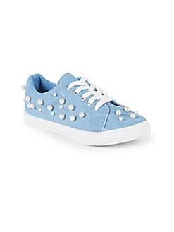 Nicole Miller New York - Little Girl's & Girl's Mya Embellished Denim Sneakers