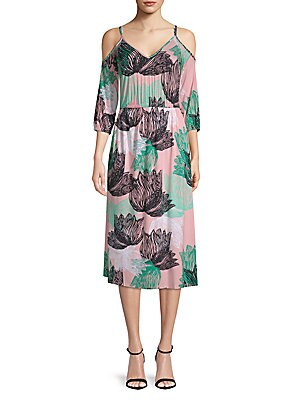 Ariana Floral Cold-Shoulder Midi Dress
