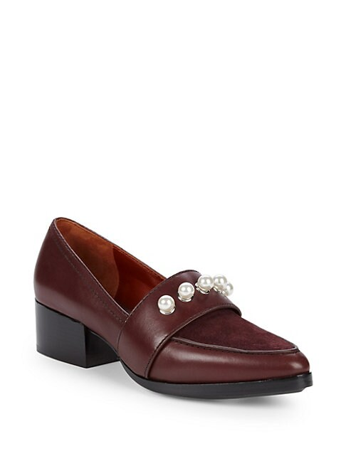 Quinn Faux Pearl-Embellished Leather Loafers