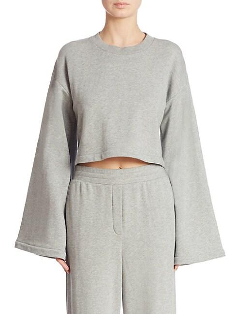 Tie-Back Bell-Sleeve Cropped Sweatshirt, Heather Grey