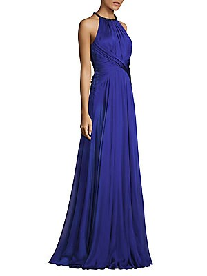 Gathered Waist Chiffon Silk Gown