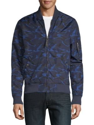 SLATE & STONE Men'S Wind-Resistant Bomber Jacket, Camouflage in Blue Pattern