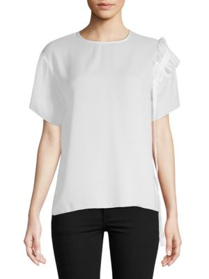 AVANTLOOK Asymmetry Ruffle Draped Top in White