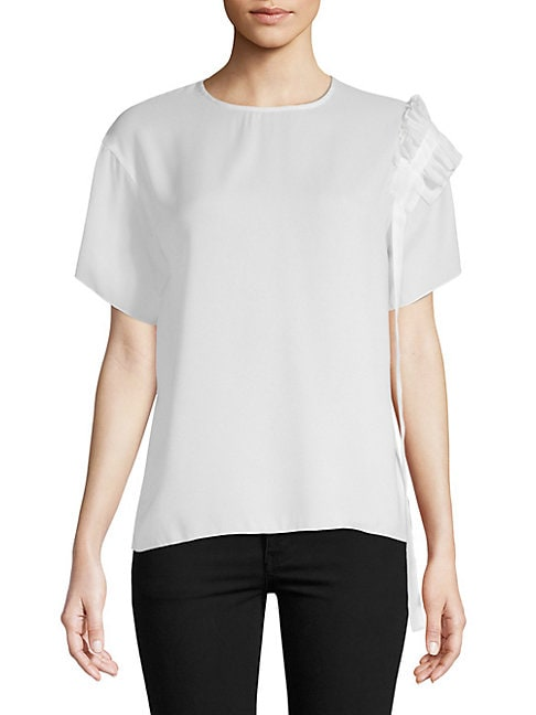 Asymmetry Ruffle Draped Top