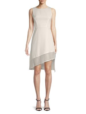 AVANTLOOK Asymmetric-Trim Sheath Dress in White