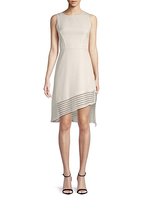 AVANTLOOK | Asymmetric-Trim Sheath Dress | Goxip