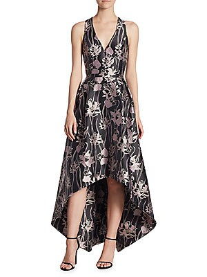V-Neck Jacquard Hi-Lo Dress