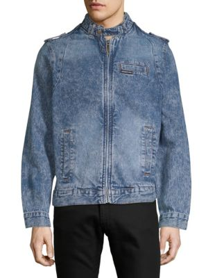 MEMBERS ONLY Denim Iconic Racer Jacket, Medium Wash