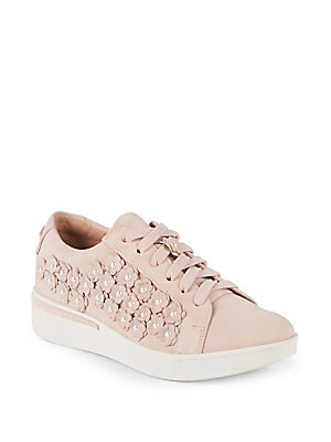 HADDIE LEATHER FLOWER SNEAKERS