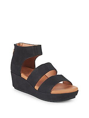 BY KENNETH COLE MILENA LEATHER WEDGE SANDALS