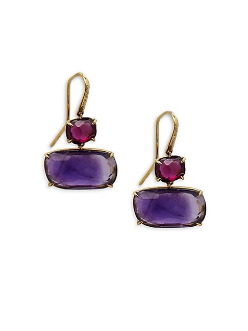 Amethyst and 18K Yellow Gold Earrings