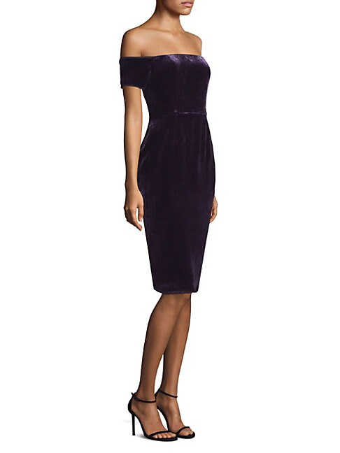 BCBGMAXAZRIA | Off-the-Shoulder Velvet Sheath Dress | Goxip