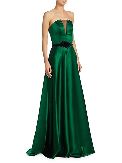 Strapless Illusion Insert Belted Gown