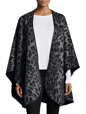 Sofia Cashmere Leopard Print Cashmere Cape