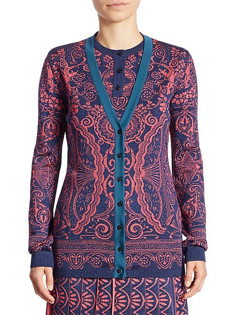 Printed V-Neck Cardigan