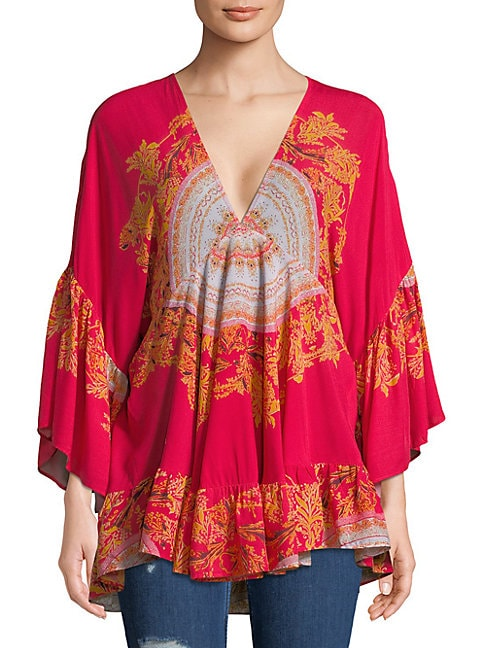 FREE PEOPLE Sunset Dreams Printed Tunic Top